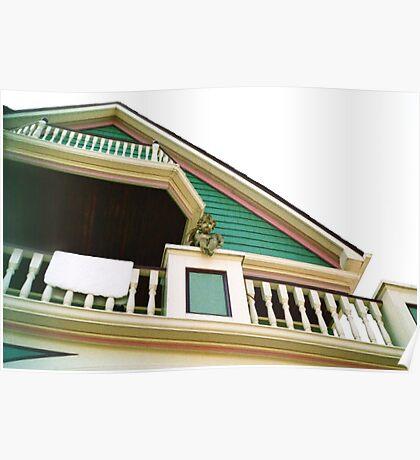 Cherub On Balcony of Victorian Painted House, Ocean Grove, NJ Poster