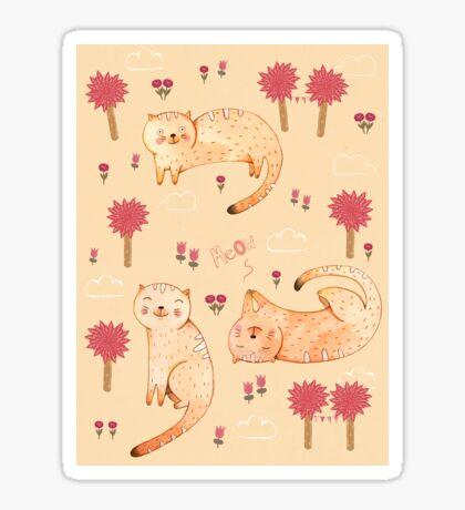 Orange Cat Pattern Sticker