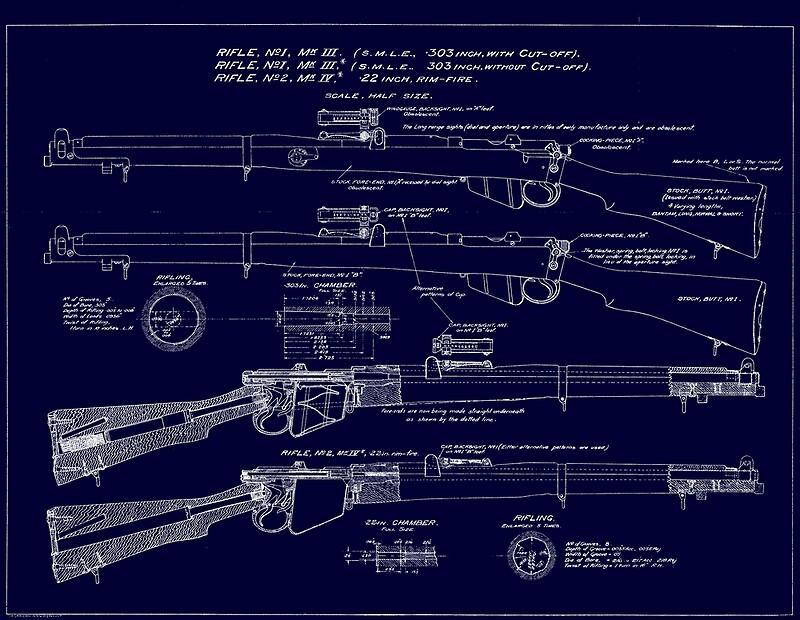 303 Lee Enfield Rifle Blueprint Dark Blue Photographic