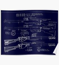 303  Lee Enfield Rifle Blueprint (Dark blue) Poster