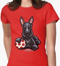Black German Shepherd Soccer Fan Womens Fitted T-Shirt