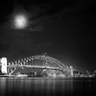 Sydney Harbour at Night B&W by Andrejs Jaudzems
