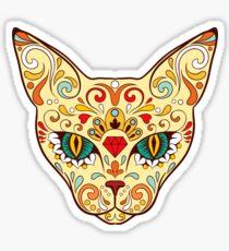 Cat Sugar Skull Day Of The Dead design Sticker