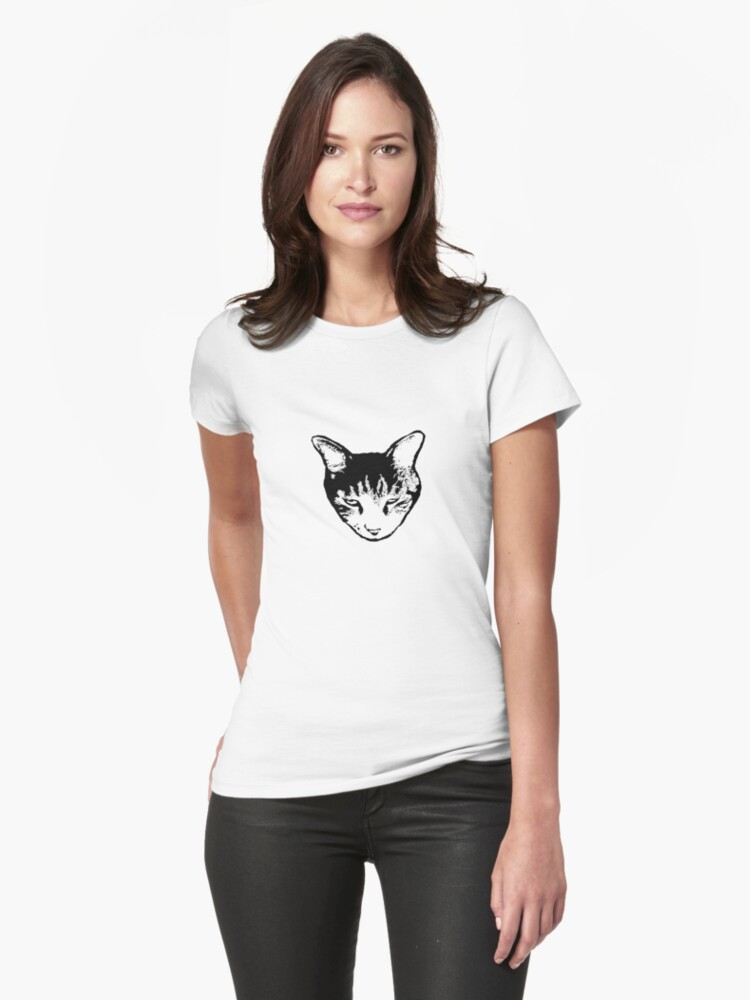 Cat Head tee dark version by Margaret Bryant