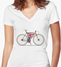 Love Bike, Love Britain Women's Fitted V-Neck T-Shirt