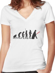 Human evolution Star wars Women's Fitted V-Neck T-Shirt