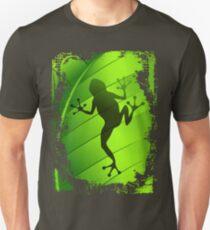 Frog Shape on Green Leaf Unisex T-Shirt