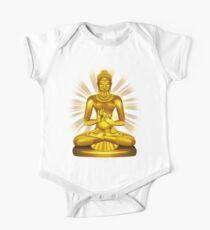 Buddha Siddhartha Gautama Golden Statue One Piece - Short Sleeve