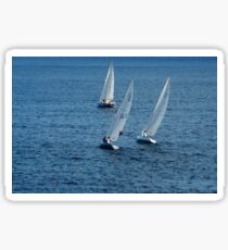 Into The Wind - Crisp White Sails On a Caribbean Blue Sticker