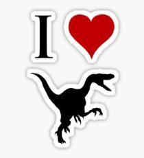 I Love Dinosaurs - Velociraptor Sticker