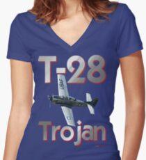 North American T-28 Trojan T-shirt Design Women's Fitted V-Neck T-Shirt