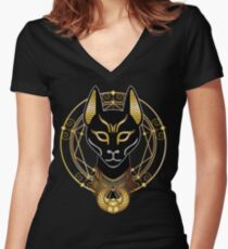 Golden Bastet Women's Fitted V-Neck T-Shirt