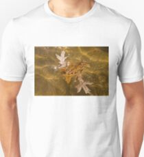 Honey Colored Sun Flares - Oak Leaves Floating in a Fountain T-Shirt