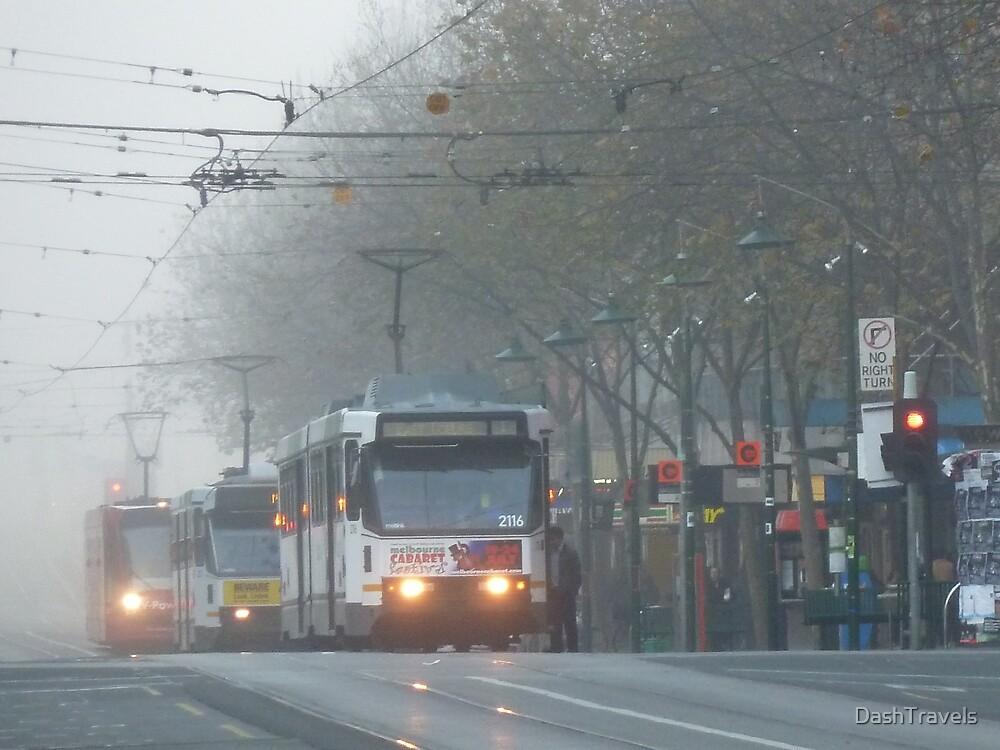 Melbourne trams in the morning fog by DashTravels