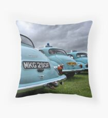 4 Morris Minor police cars Throw Pillow