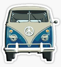 Volkswagen, Van, VW, Camper, Blue, Split screen, 1966 Volkswagen, Kombi (North America) Sticker