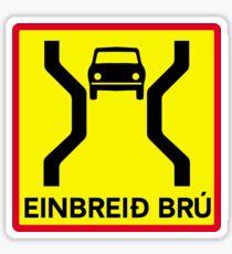 Single-Width Bridge, Traffic Sign, Iceland Sticker