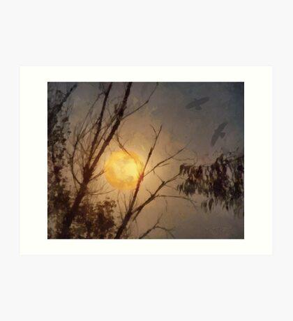 Full Flower Moon (art & poetry) Art Print