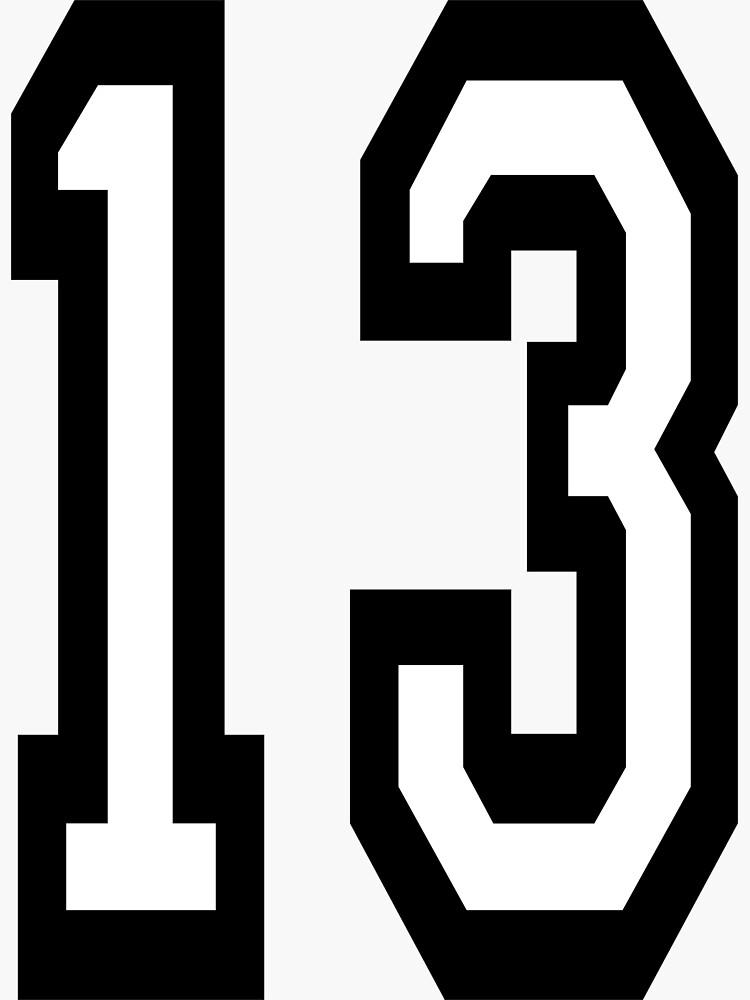 13, DEPORTE DE EQUIPO, NÚMERO 13, TRECE, DECIMOTERCER, UNO, TRES, Competencia, Mala suerte, Suerte de TOMSREDBUBBLE