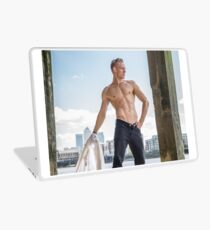 Muscle Beauty at Low Tide with Daniel, shirt in hand Laptop Skin