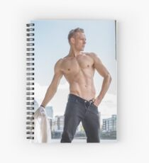 Muscle Beauty at Low Tide with Daniel, shirt in hand Spiral Notebook