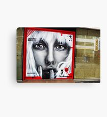 Street Art in London '' I like it when a girl can walk right by'' Canvas Print