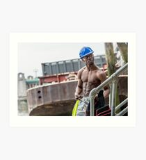 Workman at Low Tide on the Thames River with Frank Art Print
