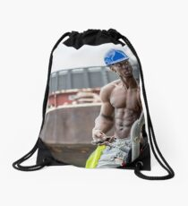 Workman at Low Tide on the Thames River with Frank Drawstring Bag