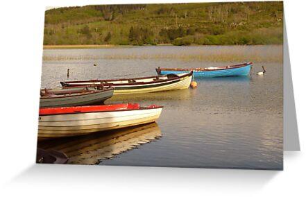 Fishing Boats On Lough Finn by Fara