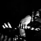 Hands on toy pirate ship black and white digital image by Jason Franklin
