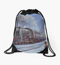 German loco in snow. Drawstring Bag
