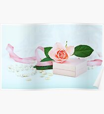 Pretty pink roses, pearls, ribbon and lace. Poster