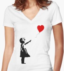 Girl with Balloons Women's Fitted V-Neck T-Shirt