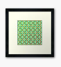 Happy Alien and Daisy Grunge Pattern Framed Print