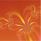Gold Orange and Pink Abstract Flowers by Objowl
