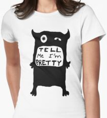 Pretty Monster Drawing in Black and White Womens Fitted T-Shirt