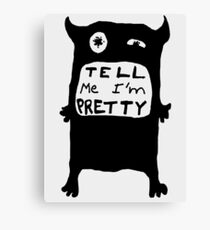 Pretty Monster Drawing in Black and White Canvas Print