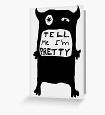 Pretty Monster Drawing in Black and White Greeting Card