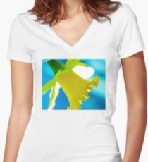 Daffodil Blues Women's Fitted V-Neck T-Shirt