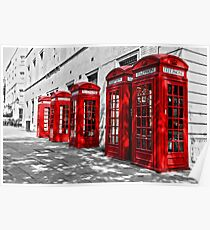 London Telephone Boxes. Poster