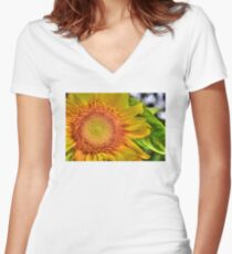 Mom and Baby matching Sunflower QTees Women's Fitted V-Neck T-Shirt