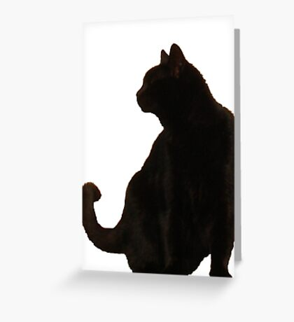 Halloween Black Cat Silhouette Greeting Card