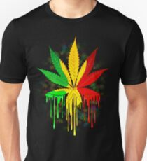 Marijuana Leaf Rasta Colors Dripping Paint Slim Fit T-Shirt