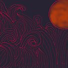 Red Moon And Waves by michellegreco