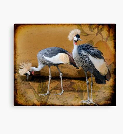 Pair Of Cranes And A Pear Canvas Print