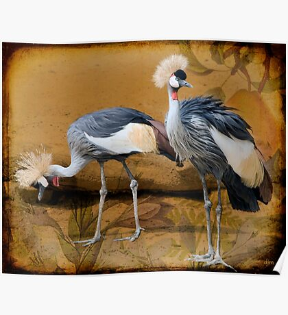 Pair Of Cranes And A Pear Poster