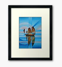 Soft Skies, Cerulean Seas and Cubist Junks Framed Print