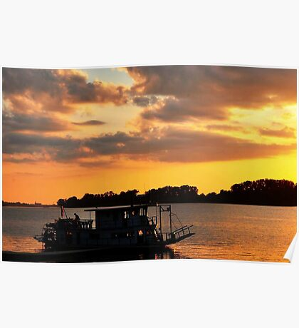 Boat On The Ohio River Poster