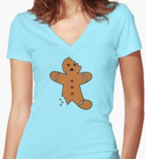 Gingerbread Man, Green Women's Fitted V-Neck T-Shirt