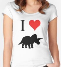 I Love Dinosaurs - Triceratops Women's Fitted Scoop T-Shirt
